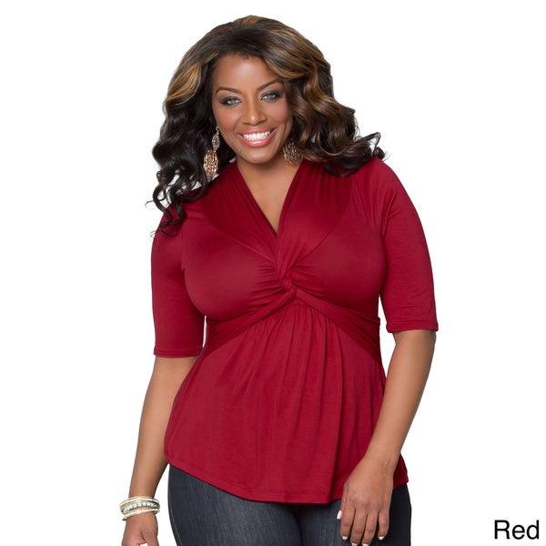 Kiyonna Women's Plus Size V-neck 3/4-sleeve Top