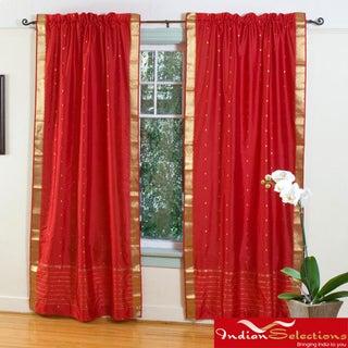 Fire Brick Red 84-inch Rod Pocket Sheer Sari Curtain Panel Pair (India)
