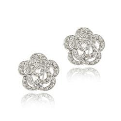Icz Stonez Sterling Silver Cubic Zirconia Flower Earrings