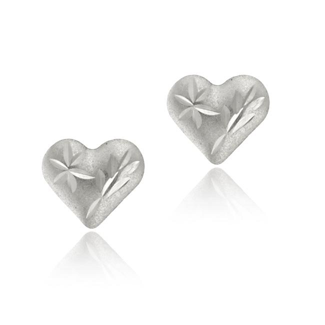 Mondevio 14k White Gold Mini Diamond-cut Heart Stud Earrings