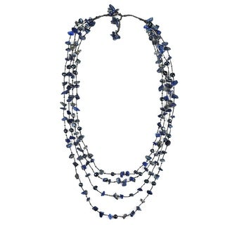 Cotton Rope Pearl and Lapis Stone Layered Necklace (7-9 mm) (Thailand)