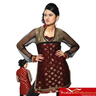 Women's Rust Net-sleeve Half-body Kurti/ Tunic (India)