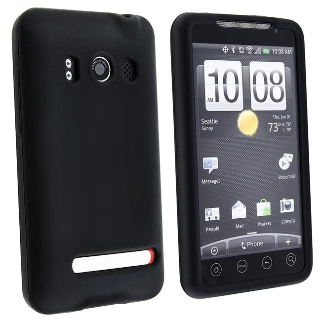 INSTEN Black Soft Silicone Phone Case Cover for HTC EVO 4G