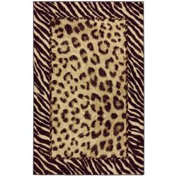 Tigress Ivory/ Brown Animal Rug (5' x 8')