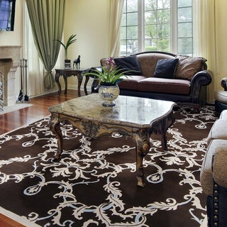 Hand-knotted Murray Damask Print Wool Rug (9' x 13')