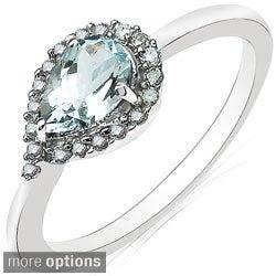 Malaika 10k White Gold Pear-cut Gemstone and 1/6ct TDW Diamond Ring (H-I, I2-I3)