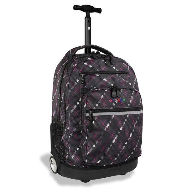 J World 'Sunset' Preppy Purple 19.5-inch Rolling Laptop Backpack