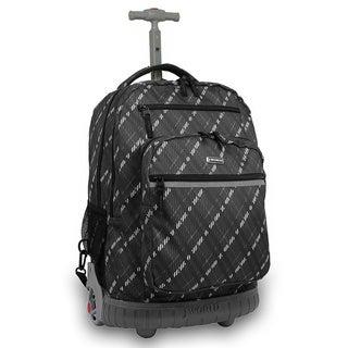 J World 'Sunset' 19.5-inch Preppy Grey Rolling Laptop Backpack
