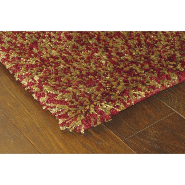 Manhattan Tweed Red Gold Shag Rug 5 X 8 Overstock