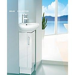 Somette Milan 12 Inch Wood White Bathroom Vanity