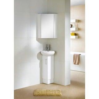 Somette Milan Wood White Small Corner Bathroom Vanity