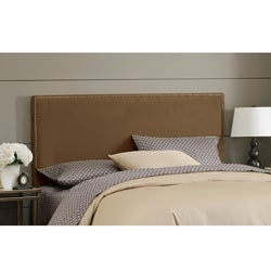 Made To Order Wrightwood Twin-size Chocolate Micro-suede Nail Button Headboard
