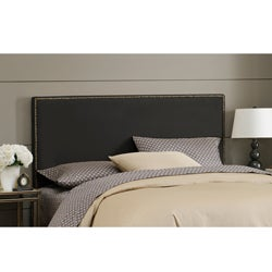 Made To Order  Wrightwood King-size Black Micro-suede Nail Button Headboard