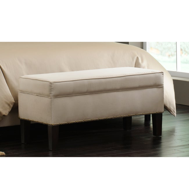 Skyline Furniture Burling Nail Button Storage Bench In Micro Suede Oatmeal Overstock Shopping