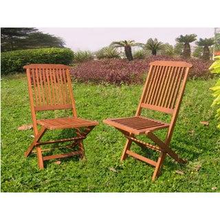 International Caravan Acacia Hardwood Folding Chairs (Set of 2)