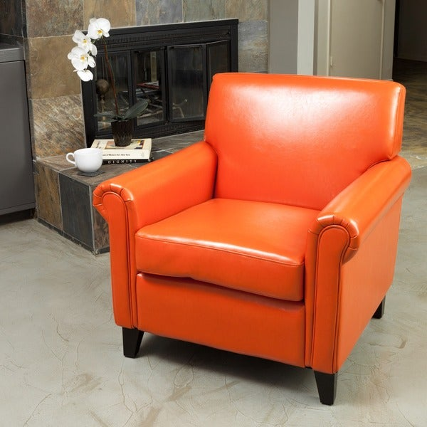 Christopher Knight Home Rolled Arm Leather Burnt Orange Club Chair