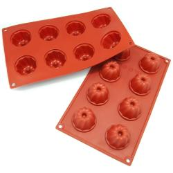 Freshware 8-cavity Mini Bundt and Coffee Cake Silicone Mold/ Baking Pans (Pack of 2)