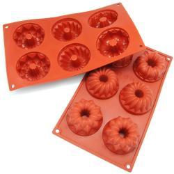 Freshware 6 Cavity Mini Bundt Cake Silicone Mold Baking