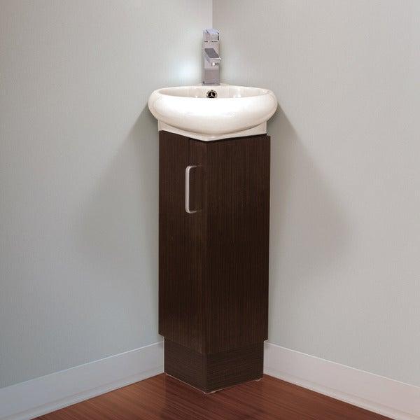 Somette Milan Small Solid Wood Corner Bathroom Vanity