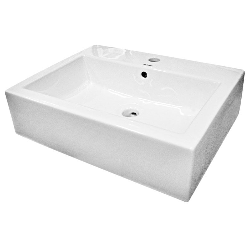 Somette Ceramic White Bathroom Vessel Sink