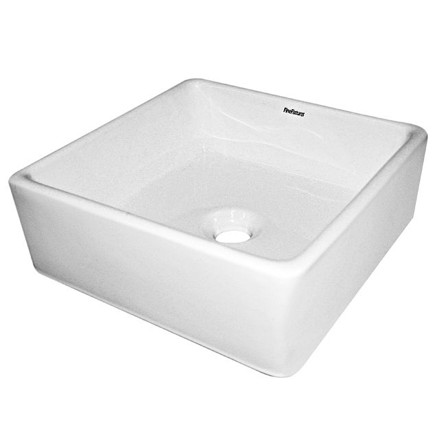 Somette Ceramic White Single-Hole Vessel Sink