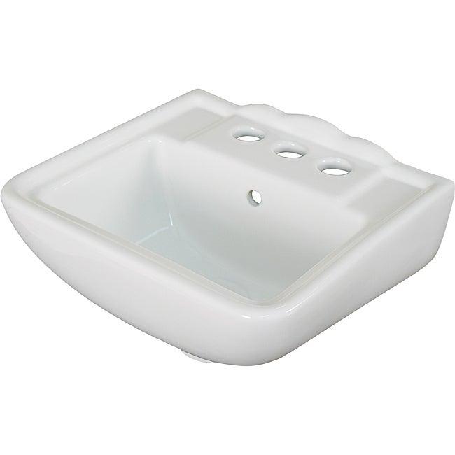 Somette Ceramic 12.25-inch Small White Wallmount Sink
