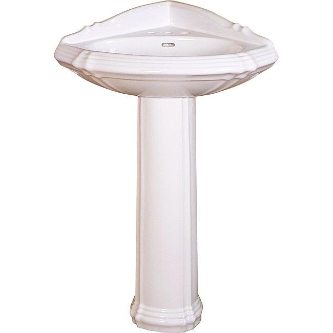 Somette Ceramic 24.75-inch White Corner Pedestal Sink
