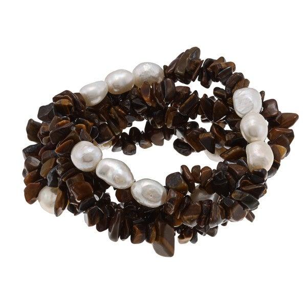 DaVonna White Baroque FW Pearls and Tiger Eye 5 Stretch Bracelets Set (7-8 mm)