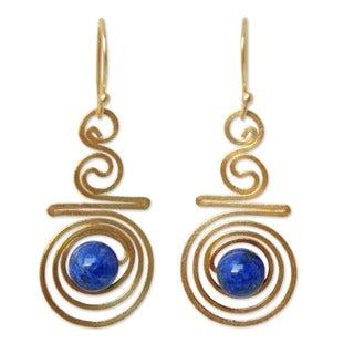 24k Goldplated 'Follow The Dream' Lapis Lazuli Earrings (Thailand)
