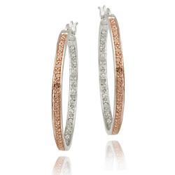 DB Designs Rose Gold over Silver Champagne Diamond Accent Hoop Earrings