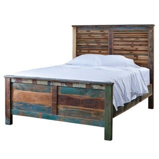 Reclaimed Wood Weathered Queen Bed (India)