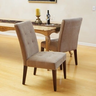 Christopher Knight Home Cambridge Tufted Light Brown Linen Dining Chair (Set of 2)