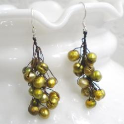 Silver/ Cotton Green Pearl Cluster Drop Earrings (5-10 mm) (Thailand)