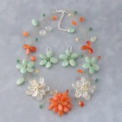 Jade and Carnelian Floating Flower Jewelry Set (Thailand)