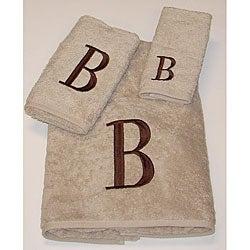 Avanti Brown Block 'B' Monogram 3-piece Towel Set