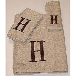 Avanti Brown Block 'H' Monogram 3-piece Towel Set