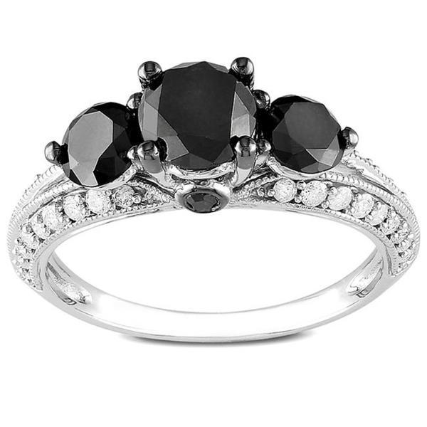Miadora 2 CT Black and White Diamond TW Fashion Ring 10k White Gold GH I2;I3 Black Rhodium Plated