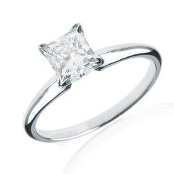 14k White Gold 1 1/4ct TDW Princess-cut Diamond Solitaire Engagement Ring (H-I, I1-I2)