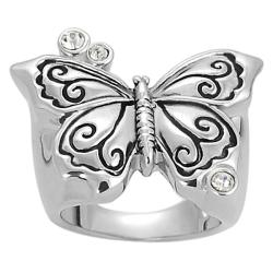 Journee Collection Silvertone Brass CZ-accented Butterfly Ring