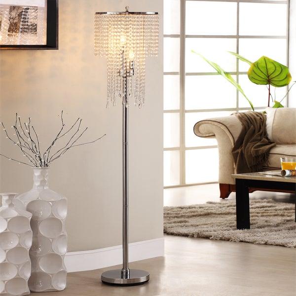 TRIBECCA HOME Crystal Rain 3-light Chrome Crystal Floor Lamp