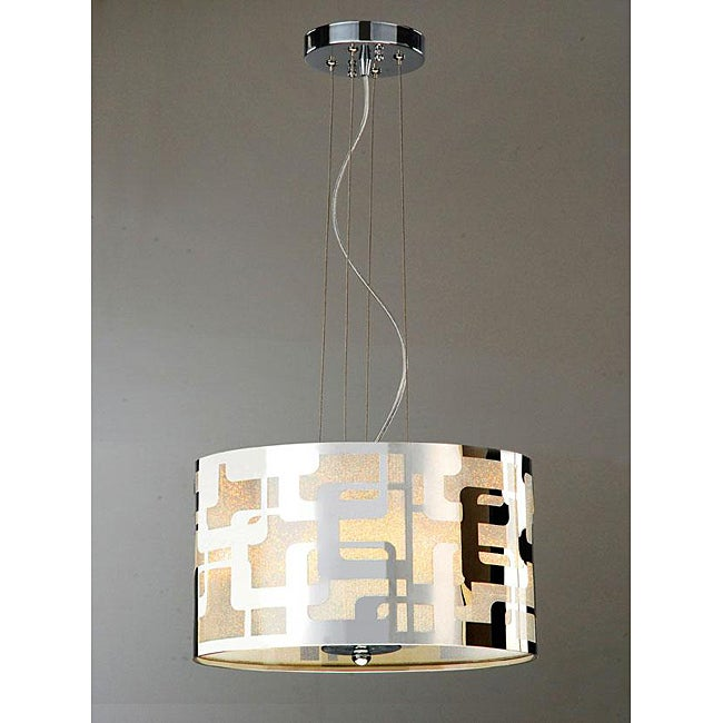 Carved 3-light Stainless Shade Chandelier