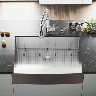 VIGO 33-Inch Farmhouse Satin-Finish Stainless-Steel Kitchen Sink, Grid, and Strainer