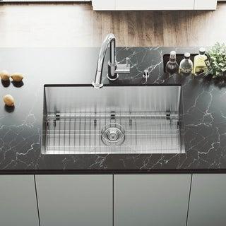 VIGO 30-Inch Undermount 16-Gauge Brushed Stainless Steel Kitchen Sink, Grid, and Strainer