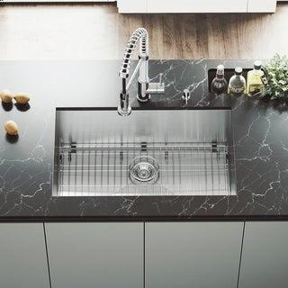VIGO 30-Inch Undermount Satin-Finish Stainless-Steel Kitchen Sink, Grid, and Strainer