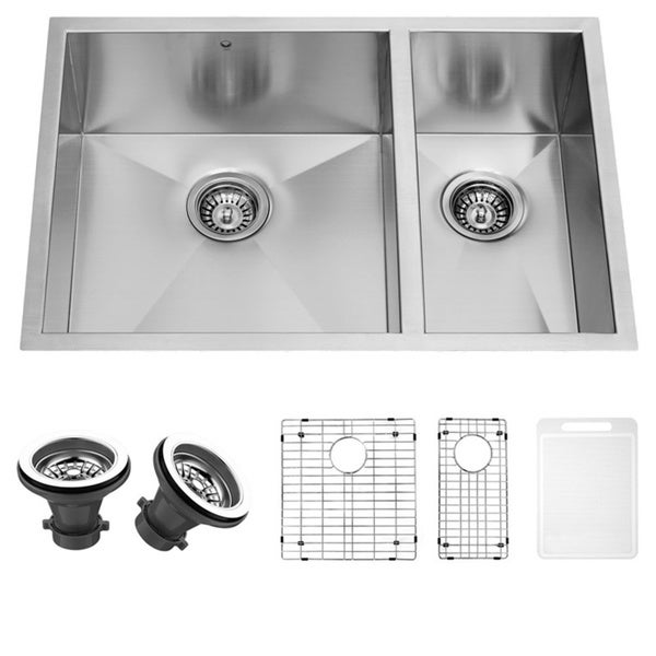 VIGO 29-inch Undermount Stainless Steel Kitchen Sink, Two Grids and Two Strainers