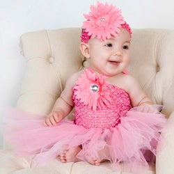 Baby Pink Flower Tutu Dress and Headband