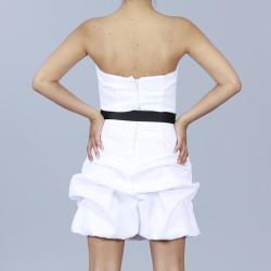 Wishes Juniors White Strapless Bubble-hem Party Dress