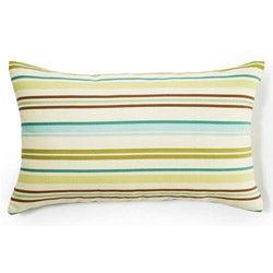 Aqua Horizontal Stripes Outdoor Throw Pillow