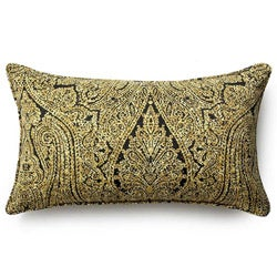Ebony Paisley Outdoor Throw Pillow