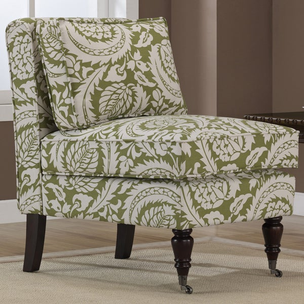 Cassidy Olive Floral Armless Chair